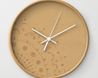 Brown Wall Clock, rustic wall clock, modern wall clock, brown wall clock, light brown clock, rustic brown clock, modern brown clock