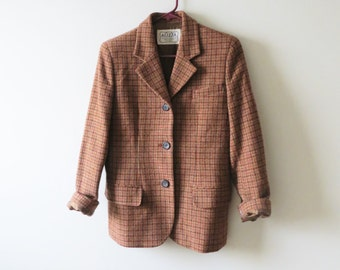 80s Houndstooth Blazer Jacket Wool Preppy PLAID Camel Maroon Orange Hipster Shoulder Pads Women's Sports Jacket Size Small 6