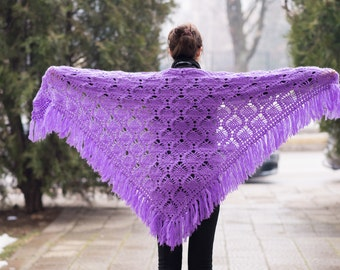 Purple triangle scarf shawl - mohair and acrylic unique handmade crochet