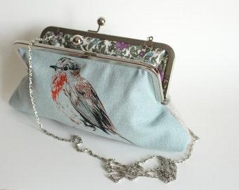 Screen-printed Handmade Blue Robin Handbag