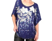 Blue Sequin Blouse/ Blue and White Sequin Blouse / Party Top/ Formal Blouse / Party Top/ Sequin Top / Beaded Blue Blouse/ Iridescent Blue