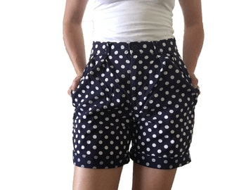 High Waisted J Crew Navy Blue Shorts with White Polk a Dots/ Vintage Shorts/ Boyfriend Fit/ Blue/ White/ Cuffed Shorts/ Long Shorts