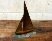 Sweet Vintage Brass Sailboat