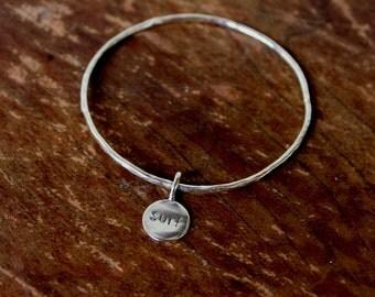 Surf Charm Bangle Bracelet,  Hand Hammered Sterling Silver 12 Gauge, Handmade In Hawaii With Love