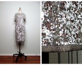 VTG Mirrored Sequin Dress // Sparkly Silver Trophy Dress // Sequined Beaded Party Dress // Keyhole Back Dress