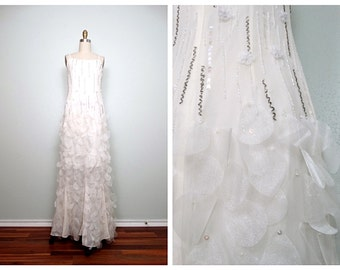 White Hand Beaded Fabric Floral Dress // Hand Sewn Iridescent Fairytale Wedding Dress Size 4