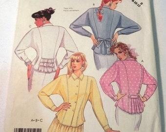 "SALE 1980s Peplum Blouse Top Shirt Dolman Sleeves sewing pattern McCalls 3471 Size 8 10 12 Bust31.5 32.5 34"" UNCUT FF"