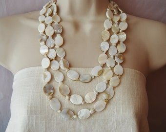 Ivory Mother of Pearl Statement Necklace Bold Chunky Multi-Strand Jewelry