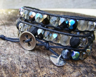 Handmade wrap bracelet with fire polished black, grey and taupe faceted beads with a sterling silver heart charm