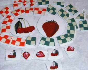 Take 40% Off, Broken China, Mosaic Supplies, Mosaic Focal, Fruit , Cherries, Strawberries, Ironstone