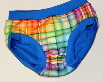 Children's Undies - Custom Made - Rainbow Plaid Underwear