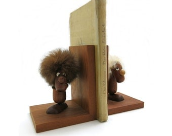 Vintage bookends - Bolling Era- Teak figurinen optimist and pessimist- 1960s - mid century design