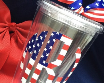 American Flag monogrammed acrylic tumbler, 4th of July, patriotic gift