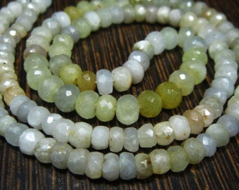 "AA-White Yellow Sapphire Shaded Micro Cut Rondelle- 17""Strand -Stones measure- 4-5mm"