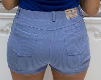 Vintage Seventies Style Blue Ribbed Shorts by Anti Flirt-Paris