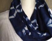 Beautiful Japanese fabric Indigo Dyed shibori scarf Infinity scarf