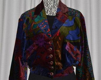 Vintage Louis Feraud Velvet Multy Color Bomber Jacket 1980s