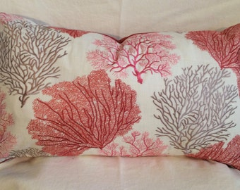 Single Lumbar Decorative Pillow Cover-14 X 23 Inch Coral Design-Accent Kidney Pillow Cover-Free Shipping.