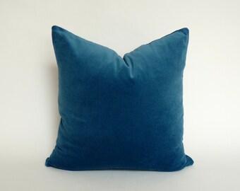 petrol blue velvet pillow case // blue velvet pillow case // blue velvet sham