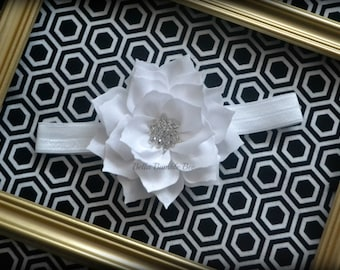 SALE - WHITE Chiffon Flower with Rhinestone on Elastic Headband, Clothing Accessory for Baby and Toddler Girls, Photo Prop
