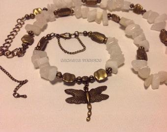 Cream Quartz and Bronze Necklace Set