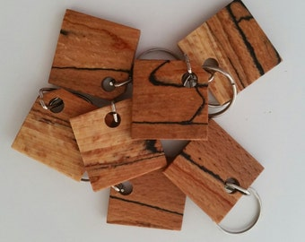 Wooden key ring, spalted beech keyrings, keys, key chain