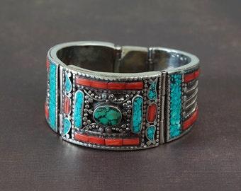 Original wide Himalayan Tibetan statement cuff bracelet