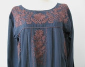 Mexican Embroidered Dress Cotton Long Sleeve Tunic In Blue, Boho Dress, Hippie Dress