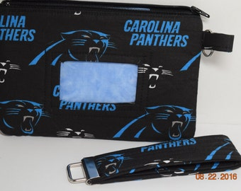 Clutch | ID wristlet | ID Clutch | Phone Clutch | Coin purse | Credit card Wallet  NFL Panthers