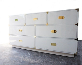 35% CLEARANCE - READY2SHIP // 7 Drawer White Polished Lacquer Campaign Dresser with Brass Hardware