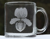 Vintage Glass Mug / Cup with  Etched Orchid Flower Made in USA