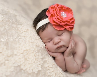 FREE SHIPPING! Coral Flower Headband, Coral Baby Headbands, Coral Newborn Headbands, Coral Headbands, Headband Coral, Photography Props