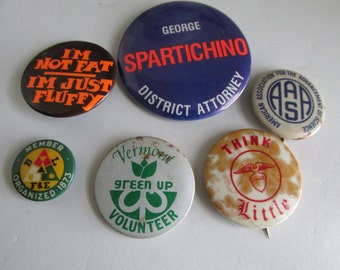 Lot of Msc Button Pins I'm not Fat I'm Just Fluffy Vermont Green Up Advancement of Science Pin Backs