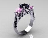 14K White Gold Three Stone Light Pink Sapphire Black Diamond Solitaire Ring R200-14KWGBDLPS