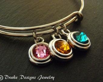 Personalized birthstone bracelet for mom birthstone bangle mothers bracelet