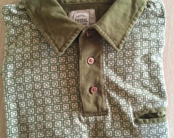 Vintage Fossil Brand Casual Shirt, Retro Styling, Hipster Shirt, Medium to Large