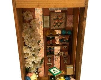 Miniature Sewing Shop,Vignette, Diorama, Dollhouse,Handmade, Vintage, Sewing Room, Hobby, Craft