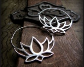 Silver Lotus Hoop Earrings ~ Like Fake Gauge Boho Tribal Festival Belly Dance ~ Layer with Eyelets Tunnels ~ Buddhist Symbol of Purity