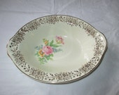 """9.25"""" Oval Serving Bowl, Taylor Smith & Taylor TST, Off-Center Floral, Gold Trim (ca. 1948)"""