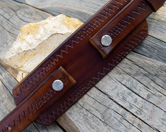 Men's Watch Leather strap, Watch band, Watch cuff strap, Zig-Zag embossed leather watch strap, Veg tanned leather