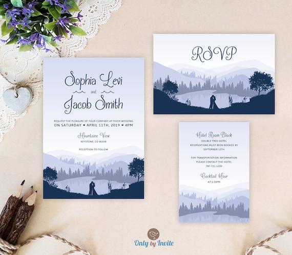 Lake Wedding Invitation Sets Invites RSVP Card Info Card