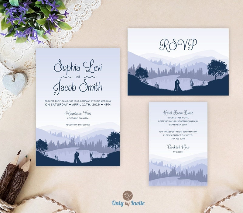 Cheap Wedding Invitation Sets: Lake Wedding Invitation Sets: Invites RSVP Card Info Card