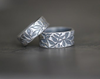 IVY TRAILS:  Wedding Band Set, Wide Band, Rustic, Bohemian, Botanical, Embossed, His and Hers, Made To Order
