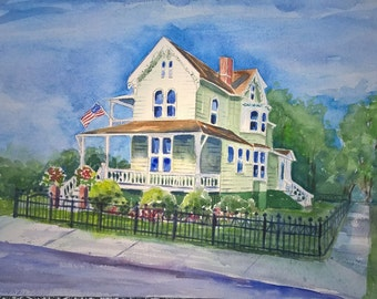 Example of Watercolor House Painting Original by Sally T. Crisp House Portrait