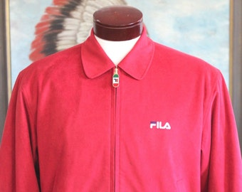 Vintage Ultra Soft Velour Red Zip Up Fila Jacket Tennis Sports