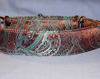 Brown and Torquoise Brocade martingle collar