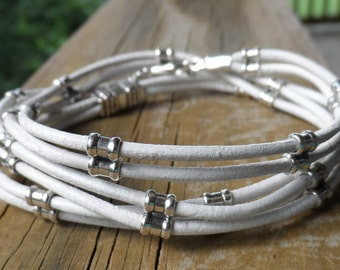 Sterling Silver and White Leather Triple Wrap Bracelet