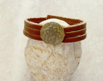 1700's Georgian Period British Bronze Button Made Into A Bracelet