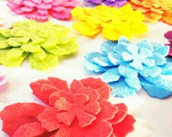 Felt Flowers, 60 Piece, 15 Set - Die Cut Felt Flowers - Die Cut Felt Tattered Flowers