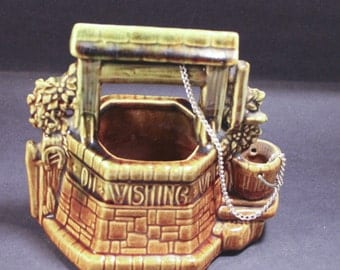 Vintage McCoy Green and Gold Wishing Well Planter